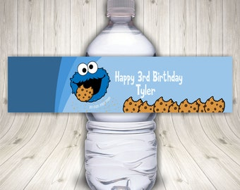 Cookie Monster Water Bottle Label, Cookie Monster Party, Sesame Street Party, Cookie Monster Labels, Waterproof Sticker Labels, Custom