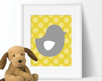 Not a Peep Chick Print Single - Decor. Nursery. Girl. Chick. Bird.  Mustard Yellow Gray - You Pick the Size & Color (S-308)