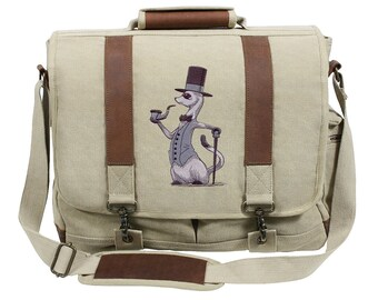 Foppish Ferret Embroidered Canvas with Leather Accents Premium Laptop Bag