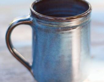 Twilight Blue Stoneware Mug -- Handthrown ceramic clay mug -- blue ceramic handmade stoneware mug