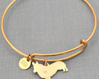 Pembroke Welsh Corgi Dog Adjustable Bangle Bracelet, Solid Brass Personalize Pendant Silhouette Charm Rescue Shelter pet memorial jewelry