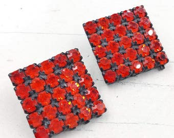 Vintage 1950's Orange Rhinestone Clip On Earrings with Black Japanned Metal Setting Square Shaped