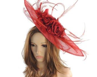 Red Fascinator Kentucky Derby or Wedding Hat **SAMPLE SALE