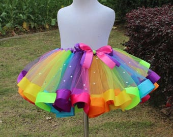 Super fluffy diamond rainbow multi color colorful girls tutu skirt with bow