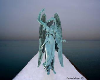 Guardian Angel on Winter Pier at Sunset Fine Art Photograph, Wall Art, Angel Image, Religious Photography, Angel Wings Photo, Spiritual Art
