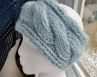 Twisted Cable Headband - Frost Blue Green Wool and Alpaca