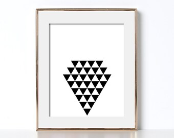 Arrow Shape Print Digital Download Printable Art Triangle Art Geometric Design Print Doctors Office Decor Abstract Wall Art Black and White