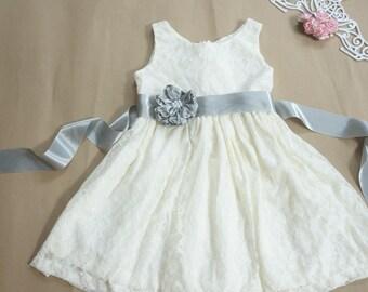 Lace flower girl dress Gray flower girl dress Sliver flower girl dress Rustic flower girl dress Ivory flower girl dress