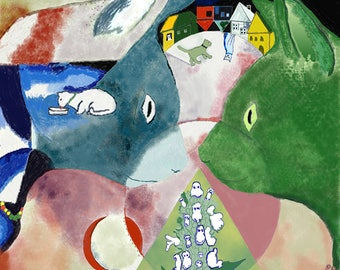 Cats: Chagall's Cats Magnet