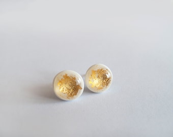White Gold Round Stud Earrings - Hypoallergenic Surgical Steel Posts