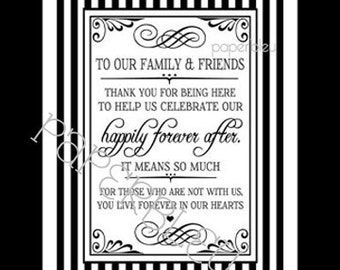 """Wedding """"Thank You Family/Friends"""" Sign -  DIY Instant Printable Download - Black and White Striped 8X10"""