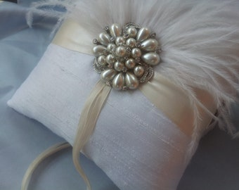 Ostrich Feather White Ivory Pearl Rhinestone Accent Bridal Wedding Ring Bearer Pillow Bridal Pillow Ring Pillow