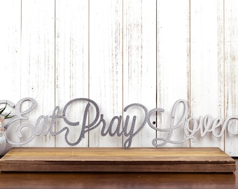 Eat Pray Love Metal Wall Decor | Kitchen Decor | Kitchen | Dining | Metal Wall Art | Eat | Pray | Love | Metal Sign | Sign | Wall Decor