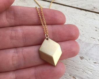 Faceted Hexagon Necklace, Charms Brass Chevron Necklace, Geometric Minimal Shaped Pendant, gift for her