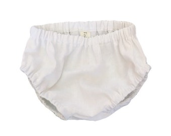 White Linen Baby Bloomers, olive diaper cover, baby diaper cover