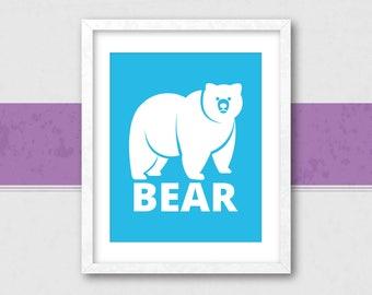 Blue Bear, Bear Silhouette, Bear Wall Art, Bear Nursery Decor, Bear Nursery Art, Bear Wall Decor, Bear Print, Bear Illustration, Bear Art