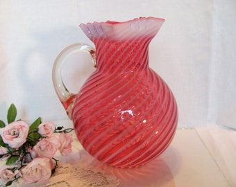 Northwood Cranberry Opalescent Swirl Pitcher Square Top Hand Blown