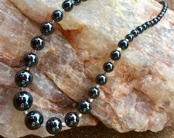 Hematite and Fine silver necklace