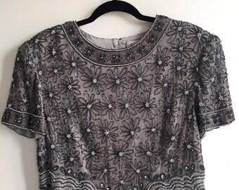 Vintage 80's Sequin Dress Shirt