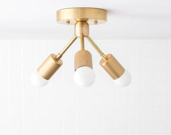Modern Ceiling Light - Brass Fixture - Semi Flush Lamp - Minimalist Lighting