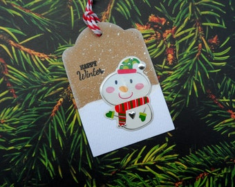 Snowman Tag, Happy Winter, Christmas Tag, Gift Tag