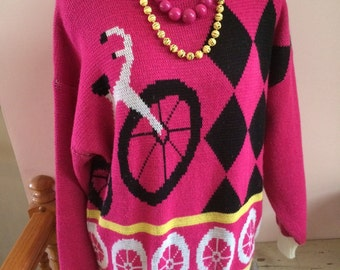Vintage Chateau Sweater 80's Hot Pink Black Yellow White Bicycle Medium and Matching Beads