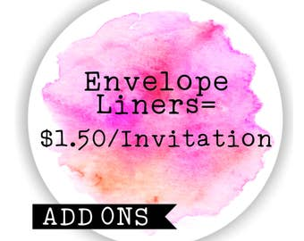 Envelope Liners - ADD ONS for invitations packages.
