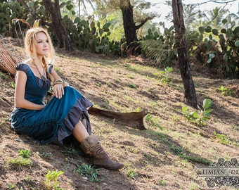 ESMERALDA LINEN DRESS - Boho Bohemian Hippie Romantic Summer Prom Gypsy Shabby chic Mori Wedding Bride Witch Fairy Ruffle - Blue Grey