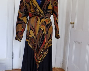 Sale! Vintage Decisions Abstract Earth Toned Black Long Sleeve Dress