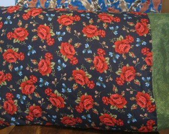 Shabby Chic Red Roses and Blue Flowers Pillow Cover Boho Chic Standard Pillow Case-Gift