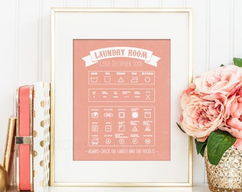 Mother Gift, Laundry Room Decor Art, Laundry Guide Print, Laundry Symbols Care Instruction Chart, Laundry Wall Poster Organizer Housewarming