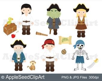 Pirates Digital Clip Art, Cute Kids Digital Clip Art, Instant Download