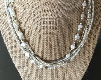 5 strand Pearl and Silver necklace