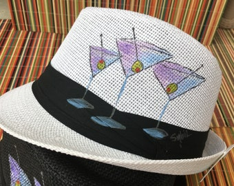 Hand-Painted Fedora Trilby - Martini Design - Wearable Art