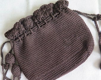 SPRING CLEANING SALE! Vintage Purse, Crocheted Purse, Brown fabric purse, Steampunk Accessory, Vintage Accessory