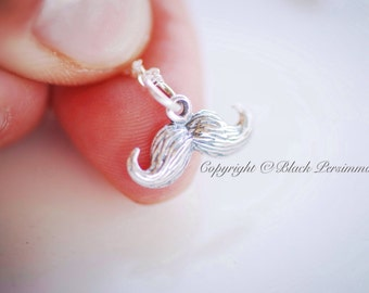 Mustache Necklace - Solid Sterling Silver Moustache Charm - Insurance Included