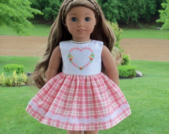 "Like American Girl Doll Clothes / Farmcookies Summer Embroidered Dress for 18"" Dolls / 18 Inch Doll Clothes"