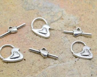 3 x T bird duck chick silver toogle clasp