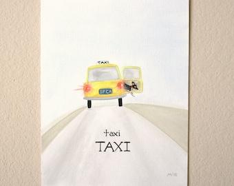 Taxi TAXI, NEW Original painting, California, taxi ride, hawk the dog