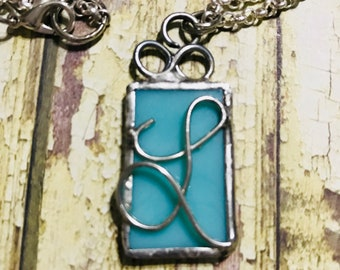 Monogram turquoise stained glass necklace   Customized