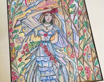 THE SIGHT, Goddess art, Avalon, priestess, magic, intuitive, visions, third eye, witchcraft, psychic , tarot, painting, watercolor,