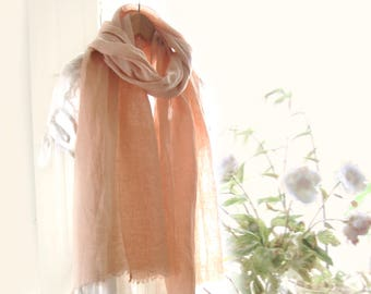 Peach linen scarf, naturally dyed French linen, pastel peach wrap, peach flax scarf, rose gold women scarf, romantic wedding gift