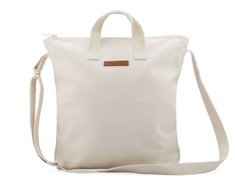 Natural 100% Cotton Canvas Zipper Tote Bag with Adjustable Crossbody Straps a Perfect Unprinted Blank Canvas for DIY Projects