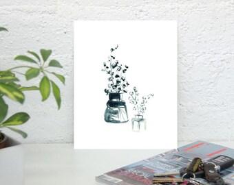 """Blue Floral Watercolor - Botanical Print Set, 8 x 10"""" Blue Watercolor Print set, Minimal Flower Art Prints, Bouquet art, Art Print Pair"""