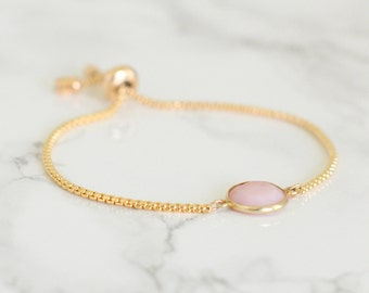 Pink Opal Bracelet - Charm Bracelet - October Birthstone - Gemstone bracelet - Birthstone bracelet - Adjustable bracelet - Mothers day gift
