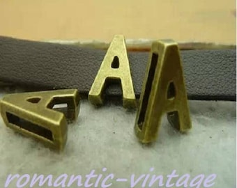 "Ribbon 4 beads 8mm ""alphabet"" bronze"