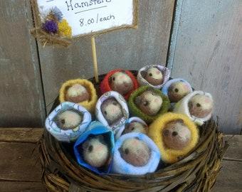 ONE Mini Hamster Needle Felted Cute Pet Lover Birthday Gift Animals Felting Lisa Haldeman Hamsters