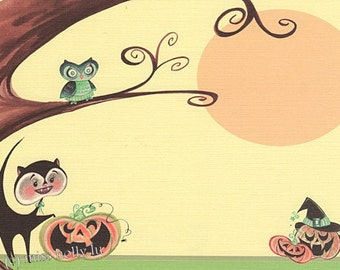 Halloween Party Invitation Set of 12, Pumpkins, Owls, Moon, Cats, Tree, Linen Card Stock by MissHollyLu