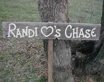 Rustic Wood Wedding Sign on Stake Bride and Groom Name Heart Directional Arrow