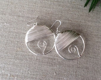 Wire Wrapped Silver Earrings, Wire Wrapped Jewelry, Boho Earrings, Hoop Earrings, Metal Earrings, Silver earrings, Silver Wire Earrings